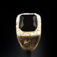 الأزياء السوداء الأحجار الكريمة الذكور الدائري المصنعين الرجعية الرجال جودة عالية الذهب الماس الدائري هدايا الأعمال بالجملة