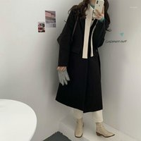 Женская шерстяные смеси Сырденные женщины осень зима длинные кашемировые блейзер-пальто куртка лоскутное покрытие хлопковый лайнер кардиган верхняя одежда1
