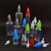 Bottiglie da incasso in plastica colorata con coperchio in cristallo 3ml 5ml 10ml 15ml 20ml 30ml 50ml 100ml flaconi in plastica PET 100ml per e succo di frutta