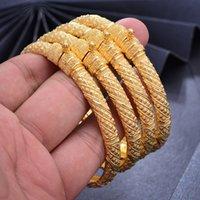 Wando 24K 4pc la reina de cobre brazaletes de oro de color brazaletes para los hombres Mujeres Flor / 6cm joyería pulsera de regalo amplia boda 0930