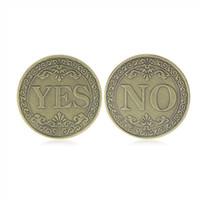 Oui ou pas de pièce commémorative florale Oui Non Lettre Coin Coin classique Métal Magic Ticks Jouets Creative Magic Props Show Tool VT1962