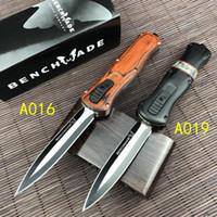 Benchmade BM Infidel Auto Tactical Nóż D2 Satin Double Edge Blade, Czerwone Drewniane uchwyty Nóż Tactical Survival Self-Defense Tools