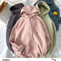 HYBSKR Femme de 12 couleurs unies coréenne hoodies Femme Coton Épaissir chaud Sweats à capuche Couple Printemps Vêtements Mode 201007
