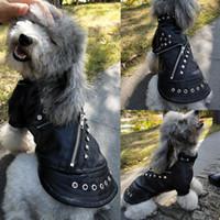 Fresco di cuoio del cane del cappotto del rivestimento caldo inverno vestiti del cane Bulldog francese impermeabile Pet Abbigliamento Outfit per le piccole medie cani neri
