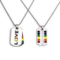 Pendentif Colliers 2021 Mode En acier inoxydable Fierté Gay Love Rainbow Pendentifs lesbiennes Perles Robinker pour femmes Hommes Bijoux1