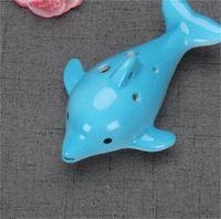 Bonitinho 6 buraco cerâmico golfinho ocarina brinquedo educativo instrumento musical animal forma educacional música flauta charme eef3889