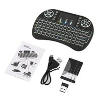 Coperture da tastiera 2.4 GHz Mini Remoto senza fili con TouchPad Mouse per Android TV Scatola TV colorata LED retroilluminazione Ricaricabile Li-ion Battery1