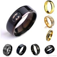 jolie anneaux cool bague noire haute anneaux d'acier doigts d'acier hommes garçons mode bijoux taille 7-12 pour Batman Humes Bague