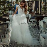 Hada boda vestidos sin espalda cuello en V tren de barrido una línea acanalada del jardín del país Vestidos de novia Vestidos de novia Vestidos de boda