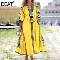 Deat Bohemian Stil Elbise Kadınlar Renkli Baskı Püskül Ince Gevşek Puf Kol Derin V Yaka 2021 Yeni Yaz Moda HC2571