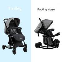 Multifunktions-Kinderwagen- und Rocking-Pferd Tragbare Leichte Neugeborene Wagen-Infant-Vierräder Faltbare Reise Pram1
