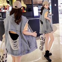 Punk Oversize Jeans yelek kadın Büyük Delik Kolsuz Gevşek Günlük Sade Giyim Denim Ceketler Kadın Vintage Yelek 2020 Sonbahar