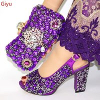 Kleidschuhe, die afrikanische lila Schuh- und Taschen-Set für Partei italienisch mit passender Design-Dame! SJL1-31.