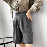 Женские брюки Capris Корейский стиль женщины 2021 мода свободная высокая талия короткие сплошные цветные повседневные широкие ногой колено