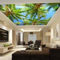 Dropship personalizado Mural 3D árvores Telhado Grande Mural Sala Sala de Jantar Tecto Wallpaper Hotel Guest teto Wallpaper