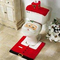 3PCS Christmas Toilet Seat & Cover Santa Claus Bathroom Mat Xmas Bathroom Santa Toilet Seat Cover Rug Home Decoration 2021