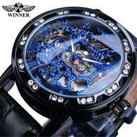 Gagnant gagnant MENS Fashion Casual Classic strinestone Full Hollow Manual Mechanical Watch Mens Cuir-Ceinture Montre Montre-Bracelet