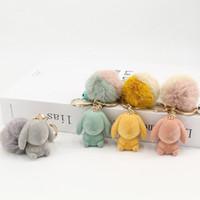oso conejo 3D Pompoms piel Bolas para coser en el llavero de punto bufanda sombreros de piel DIY Craft Supplies Accesorios para el cabello