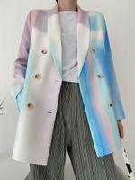 Abiti da donna Blazer Autunno Donna Single Breasted Giacche lunghe per ladies Tie-Dye Stampa Moda ufficio Cappotto esterno Blazer Feminino