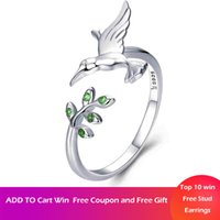 WOSTU 925 Sterling Silver Spring Hummingbirds and Leaves Open Size Finger Rings for Women S925 Fashion Luxury Jewelry BKR323
