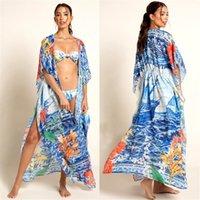 Azul Boho Impreso Bikini Cover-Ups Largo Kimono Cardigan Túnica de algodón Tallas Tallas Mujeres Summer Beach Desgaste Traje de natación Cubre Q1059 F0122