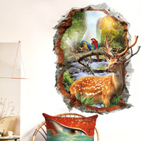 시카 사슴 3D 벽 스티커 자연 풍경 홈 장식 스티커 가짜 창문 풍경 배경 화면 동물 홈 장식 201130