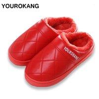 Yourokang Ev Terlik Unisex PU Deri Kış Sıcak Pamuk Terlik Moda Kürklü Peluş Ayakkabı Kapalı Yatak Odası Antiskid Pantufa1