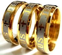 Novos 30pcs gravado Jesus Cruz Aço Inoxidável Anel 316L Largura de 6mm Ouro Conforto Religioso Fit Banda Qualidade Anel Mens Womens Jóias Lote