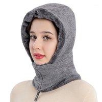 Beanie / Kafatası Kapaklar Moda Kadınlar Bayanlar Başlık Sonbahar Kış Sıcak Rüzgar Geçirmez Kapüşonlu Şapka Tatil Seyahat Kamp Beanies Siyah Pembe Gri1