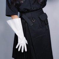 GUANTES DE PATENTE DE LARGO unisex de cuero de imitación ancho del globo mangas de soplo grande WPU147 38cm blanca