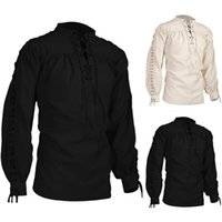 New Mens shirts Medieval Pirate Shirts Renaissance Lace Up S...