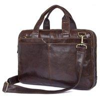 Balaisaux de cuir de vachette réel Sac à main pour hommes 15 pouces Haut de dessus sac de portable 4 couleurs design sac à main 70921
