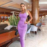 Vestidos casuales LUSOFIE Sexy púrpura apretado vestido largo collar cuadrado chaleco falda verano abierto tobillo décimo sólido sólido