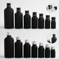 صغيرة فارغة ماتي أسود بوسطن جولة الزجاج الضروري زيت الزيت السائل مع غطاء الألمنيوم المسمار 5ML 10ML 20ML 30ML 50ML 50ML 100ML