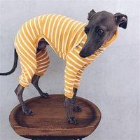 Fashion Pet Dog Одежда с высоким воротником Щенок Аксессуары на полоску Четыре длинные рукава Рубашка держит теплые собаки Одежда горячая распродажа высокое качество 26lm f2