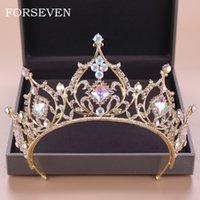 Baroque Crystal Tiara Crown Bride Accessori per capelli Colorful Crystal Crown Bry's Tiaras Wedding Headpiece Princess Queen Diadem Y19061905