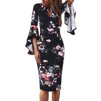 VFEMAGE WOMENS SEY KEY OHOLO FRENTE FRENTE FRONTRAL PRINTURA CORTE FLUFLE STANDEVE COCTELAIL DE LA BODA CLUB SLIM Bodycon Lápiz Vestido 960 y200418