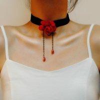 초커 섹시한 고딕 검은 레이스 칼라 목 Choker 목걸이 붉은 꽃 빅토리아 여성 chocker steampunk 쥬얼리 판매