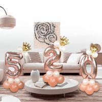 Rose Gold 1 2 3 4 5 6 7 8 9 Numer Foil Balloon Feliz cumpleaños Inflar Bolas Kit Boda Festiva Aniversario Decoración de fiesta Y0107