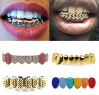 18k Золотые зубы Брекеты Панк хип-хоп Мультицветные алмазы Пользовательские нижние зубы Грильц Стоматологический рот Фанг Грильс зубной крышкой Вампир рэппер Умип