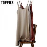 Toppies 2020 primavera verão mulheres cetim vestido festa de luxo brilhante sundress imitação vestido de seda h1210