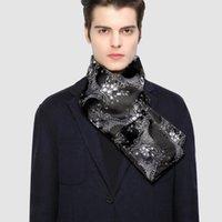 الأوشحة الشتوية مصمم 160 سنتيمتر طويلة الرجال الأسود الأزهار الحرير وشاح الذكور ماركة شال التفاف وجه وجه الصف بالغ الباري.