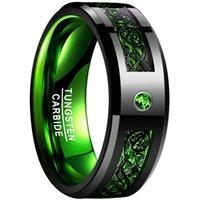 NUNCAD Марка карбида вольфрама кольцо 8 мм шириной инкрустированные зеленый углеродного волокна двухцветную вольфрама кольцо мужские украшения черный узор дракона
