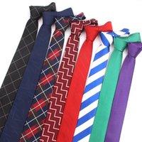 Flacos lazos para los hombres mujeres ocasionales de la tela escocesa corbata para celebración de bodas Los juegos de jacquard de rayas corbata corbata de los hombres delgados Gravatas