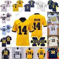Michigan Wolverines Fußball Jersey NCAA Shea Patterson Dylan McCaffrey Tarik Schwarz Nico Collins Christian Turner McKeon Johnson