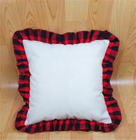 18 polegadas em branco sublimação travesseiro caixa diy térmica linho almofada throw travesseiro cobre tartan xadrez rendas pillowcases decoração home d102902