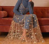 Vestidos de patrón estrella de las mujeres Correas de espagueti Tulle Long Maxi Vestidos Moda Bling Bling Ver a través de la fiesta con cuello en V1