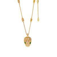 Мода зеленый кристалл змей головы кулон ожерелье подходит для дамских свадебных украшений
