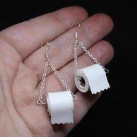 Dangle ljuskrona aensoa unik design toalettpapper vävnad läder örhängen 2021 fshion personlighet rulla örhängen smycken grossist