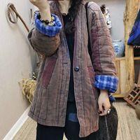 Literatura de inverno e arte desgastada grande decote em v mão de mão combinando roupas acolchoadas de algodão para mulheres